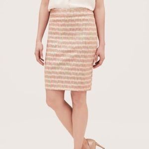 LOFT Cream and Coral Pencil Skirt